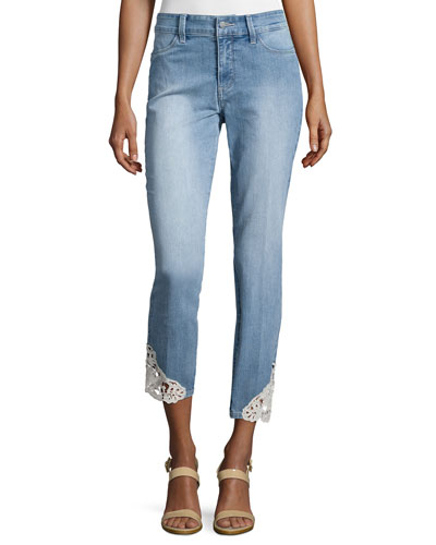 Clarissa Skinny Ankle Jeans W/ Lace Edging