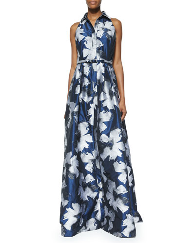 Sleeveless Floral Belted Gown