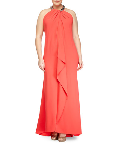 Sleeveless Beaded-Neck Toga Gown, Coral, Women