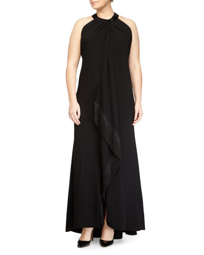 Sleeveless Beaded-Neck Fringe-Trim Toga Gown, Black, Women