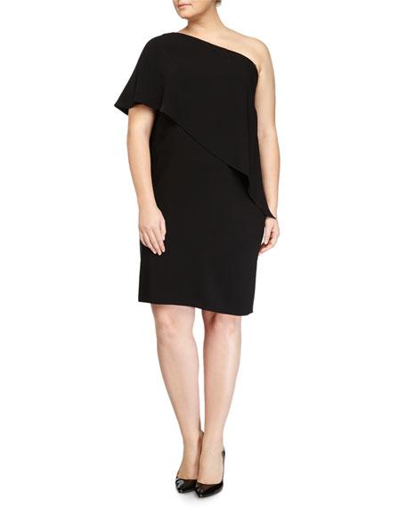 One-Shoulder Capelet Cocktail Dress, Black, Women's