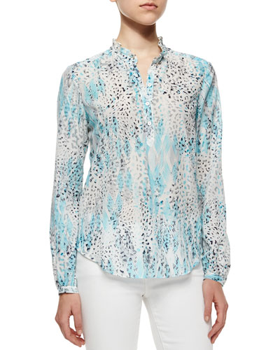 Voile Mixed-Print Blouse, Pool Side