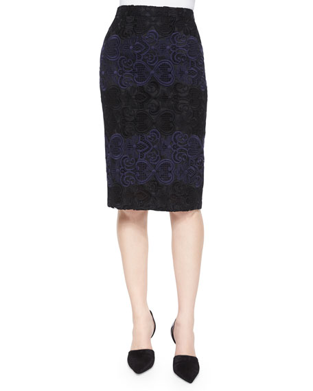 A.L.C. Davin Embroidered Pencil Skirt