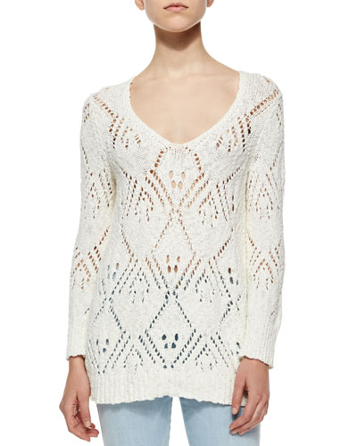 Pointelle-Knit Sweater, Chalk