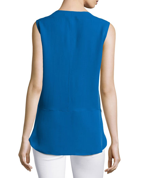 Sleeveless Top with Wide Hem, Sapphire