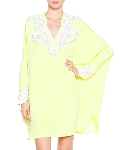 Beaded Silk Knee-Length Caftan
