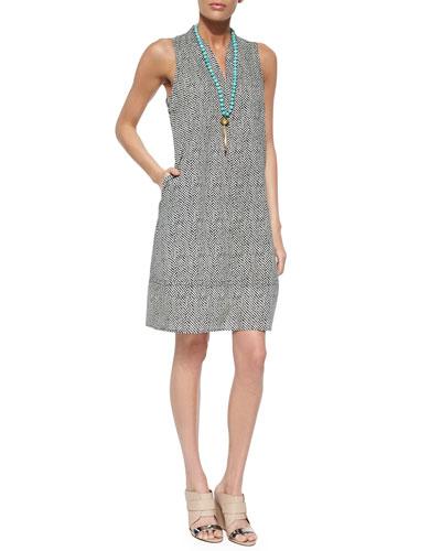 Bandhini-Print Halter Dress, Petite