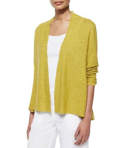 3/4-Sleeve Organic Linen Cotton Cardigan, Women's