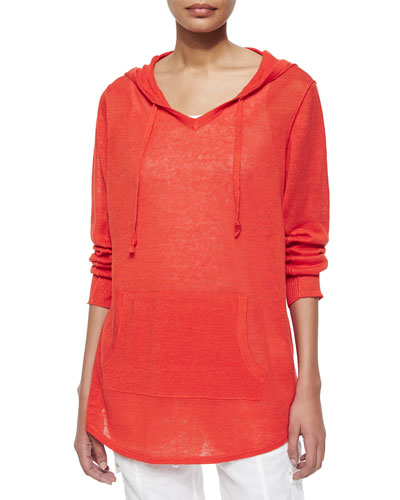 Organic Linen Hooded Top, Petite
