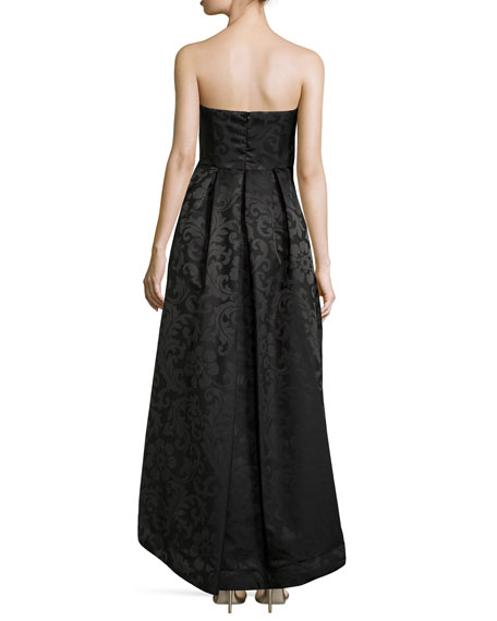 Strapless High-Low Pleated Gown, Black