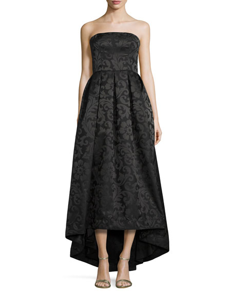 ML Monique Lhuillier Strapless High-Low Pleated Gown, Black