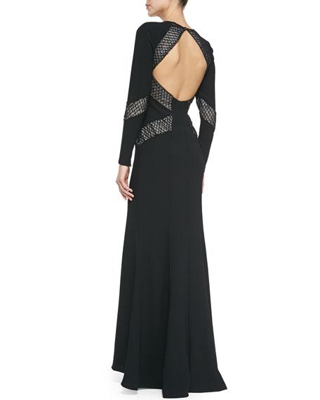 ML Monique Lhuillier Long-Sleeve Open-Back Beaded-Panel Gown