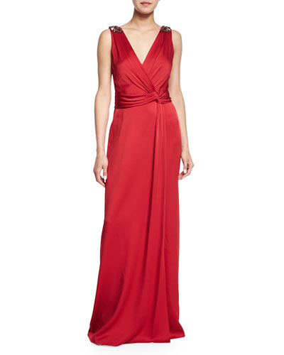 Jeweled Surplice Draped Gown