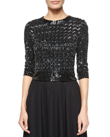 Jenny Packham Half-Sleeve Chevron-Stripe Beaded Top, Black