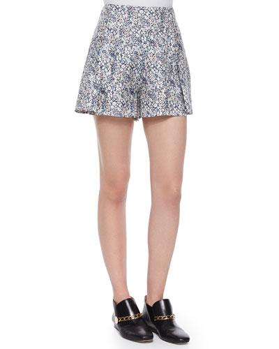 Floral-Print Shorts W/ Saddle Studs