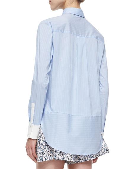 Long-Sleeve Striped Henley Blouse