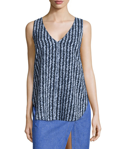 Striped Silk V-Neck Shell