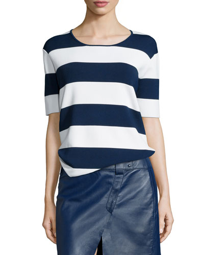 Striped Short-Sleeve Knit Top, Soft White/Blue