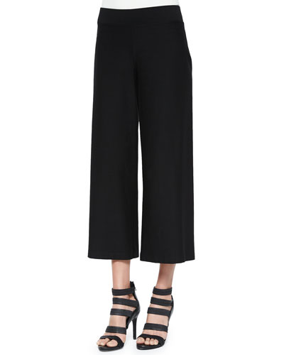 Wide-Leg Washable-Crepe Cropped Pants, Black, Women's