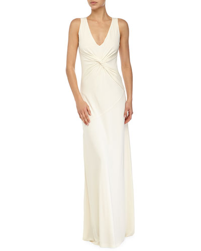 Sleeveless Twist-Front Gown, Chalk
