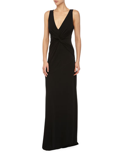 Sleeveless Twist-Front Gown, Black