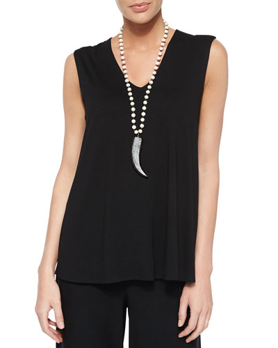 V-Neck Long Shell, Black