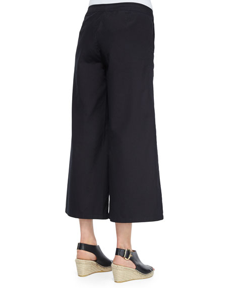 Fisher Project Wide-Leg Cropped Pants, Black