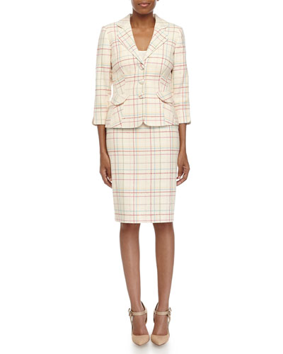 Plaid Knit Jacket & Pencil Skirt Suit, Cream Multi
