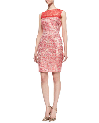 Sleeveless Lace Top Sheath Dress, Cherry