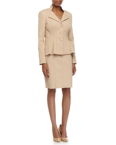 Stretch-Knit Jacket & Pencil Skirt Suit, Khaki