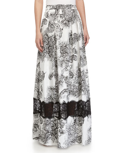 Paisley-Print Ball Skirt, Black/White