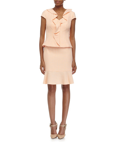 Ruffle-Front Jacket & Pencil Skirt Suit, Orange/White