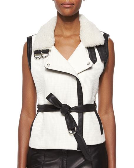 IRO Critzer Vest with Leather & Fur Trim