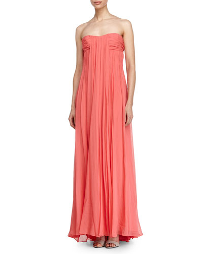 Pleated Strapless Gown, Tulip