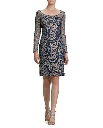 Long-Sleeve Metallic Lace Cocktail Dress