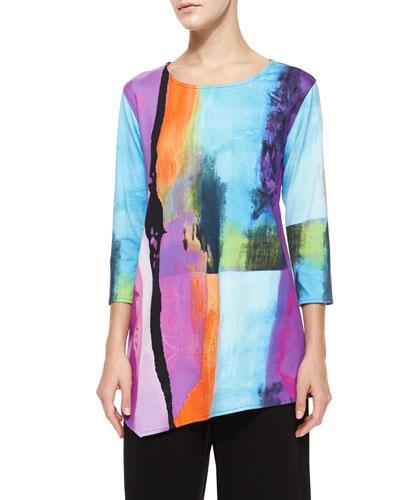 3/4-Sleeve Bright Side Printed Asymmetric Tunic, Petite