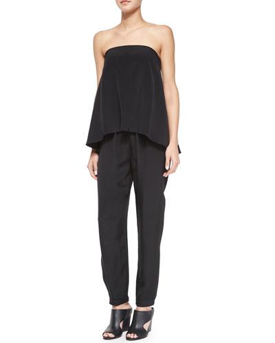 Strapless Flowy Silk Jumpsuit, Black