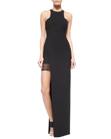 Elizabeth and James Tegan High-Slit Chiffon Maxi Dress,