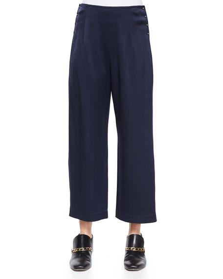 Derek Lam 10 Crosby High-Waist Cropped Trousers W/ Saddle Studs