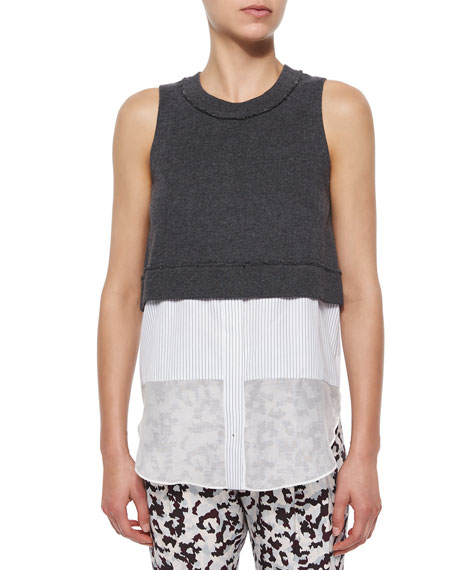 Derek Lam 10 Crosby Sleeveless Jersey Layered Tank