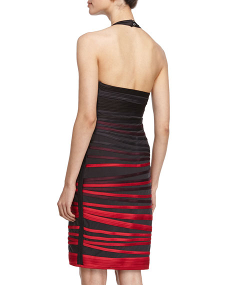Sleeveless Ombre-Stripe Dress, Ruby/Black
