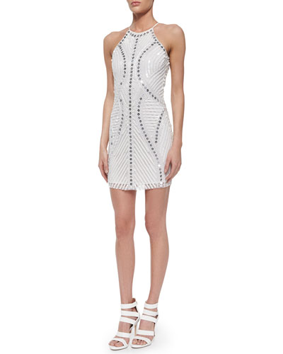 Jaden Open-Back Sequin Cocktail Dress, White