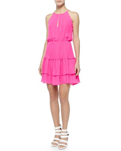 Quintana Tiered Dress, Pop Pink