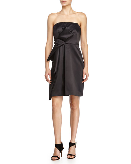 Strapless Side-Ruffle Cocktail Dress, Black