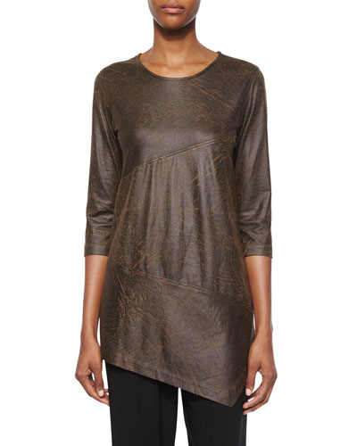 3/4-Sleeve Distressed Faux-Suede Tunic, Women