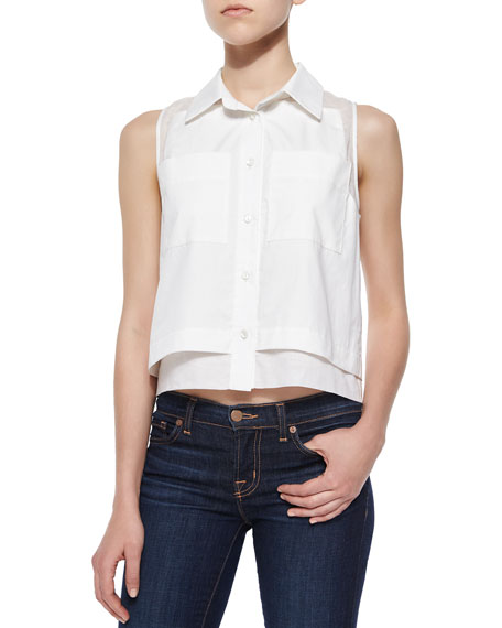 ParkerNorway Sleeveless Combo Blouse, White