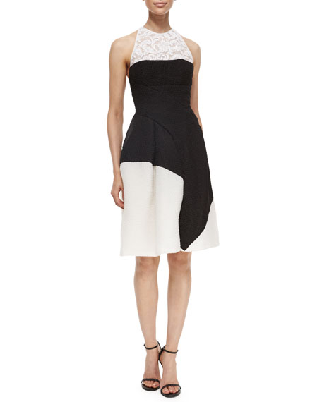 J. Mendel Colorblock Cloque Lace-Inset Fit-And-Flare Dress