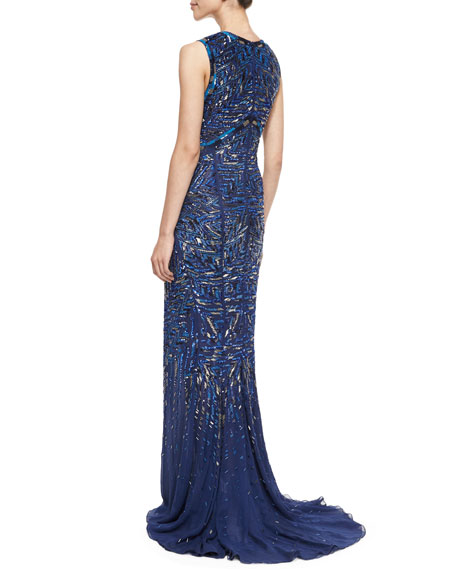 Chevron Bead-Embroidered Gown