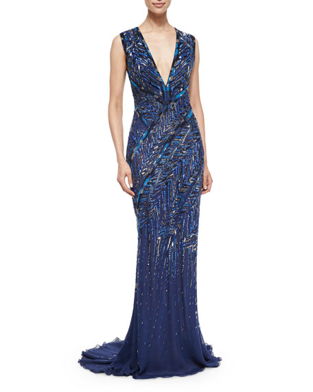 J. Mendel Chevron Bead-Embroidered Gown