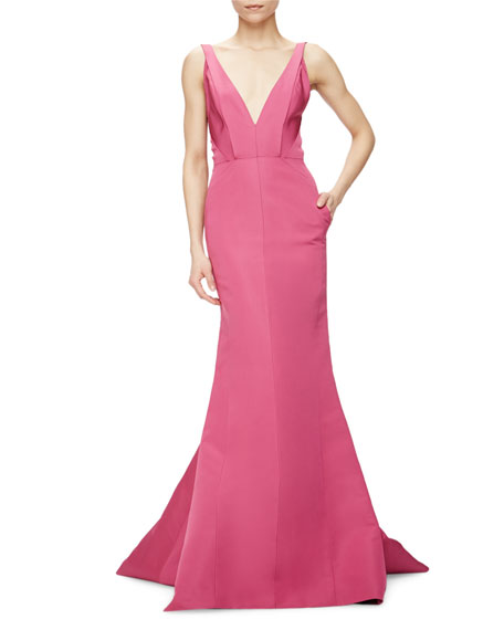 J. Mendel Sleeveless V-Neck Silk Faille Gown, Super